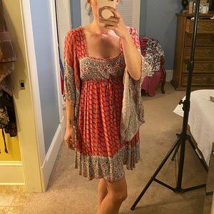 Free People Peasant Wide Sleeve Mini Dress